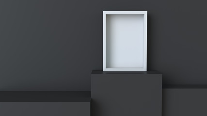 Frame with black cube podium on blank wall background. 3D rendering.
