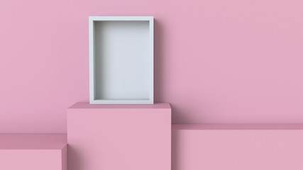 Frame with pastel pink cube podium on blank wall background. 3D rendering.