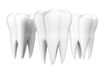 Tooth isolated on white background. Healthy teeth icon 3d illustration of white enamel and root. Dentistry, dental health care, dentist office, oral hygiene theme design, dental logo or flyer concept.