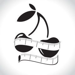 illustration of measuring tape around fresh apple. Diet concept. Vector illustration
