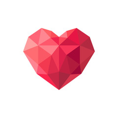 Geometrical red stylized polygonal heart. Vector illustration.