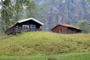 wooden cabins in the mountains, Skjolden, Norway