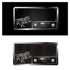 an illustration consisting of two different images of a radio station in the form of a symbol or logo