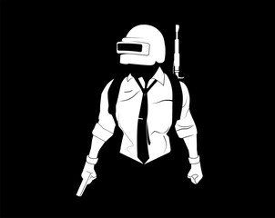 Pubg player. Black and white illustration player from PlayerUnknown's Battlegrounds. Silhouette soldier, in 3 lvl helmet and pistol.