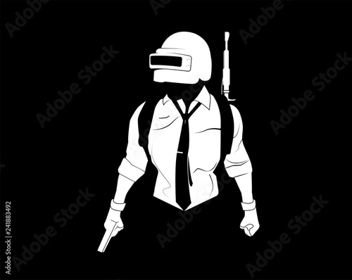 """Pubg Player. Black And White Illustration Player From"