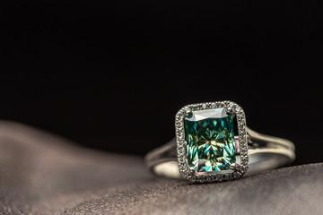 Emerald Engagement Ring. Blue Diamond