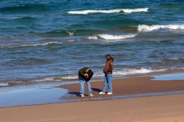 Couple Explore Lake Superior