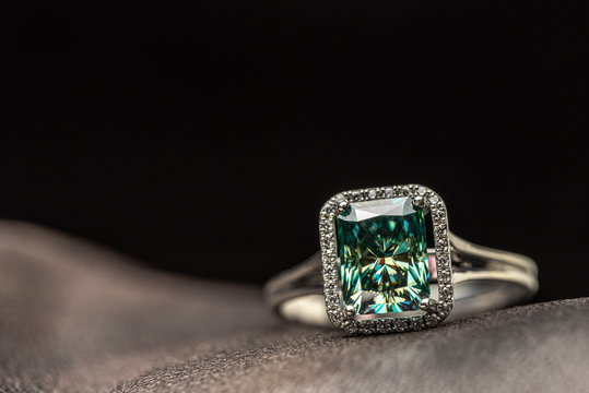 Emerald Engagement Ring. Blue Diamond