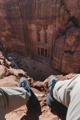a man travelling at Petra, Jordan. Tourist attraction and travel destination in Jordan, Middle east