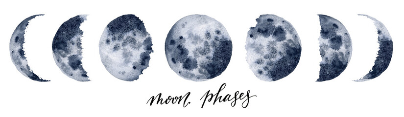 Watercolor moon phases. Hand painted various phases isolated on white background. Hand drawn modern space design for print. Wall mural