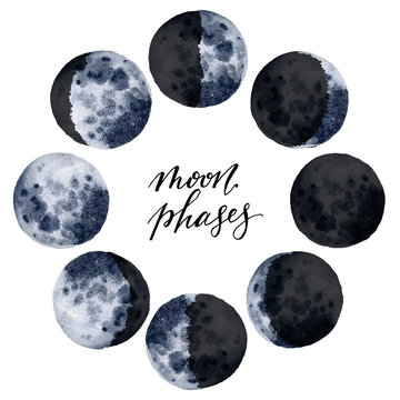 Watercolor various moon phases isolated on white background. Hand drawn modern space design for print, card.