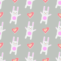 Gentle print. Seamless pattern Funny cartoon white rabbit with heart.