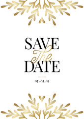 Gold Branches Save the Date Card Template