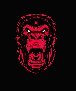 """The illustration """"Mad gorilla face. Ink red and white illustration. usually this is kingkong (kong)"""
