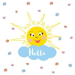 "Cute Sun and cloud with inscription ""hello"". Hand drawn illustration for card,  for presents, invitation, children room decor, interior design"