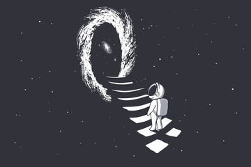 an astronaut climbs the stairs into wormhole Fototapete