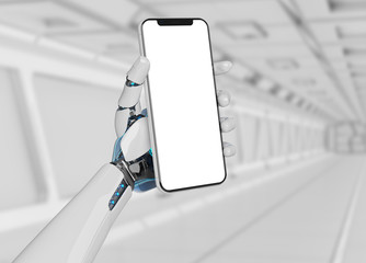 White robot hand holding smartphone mockup 3d rendering