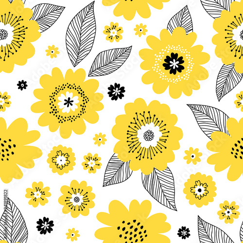 Seamless Repeat Pattern With Yellow Flowers And Black Leaves On