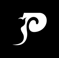 abstract carving letter P logo design