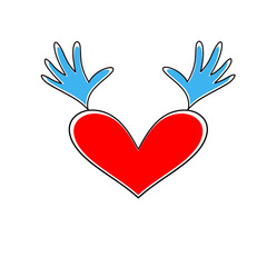 Heart with hands up. Vector heart icon. Heart symbol of Valentine's Day.