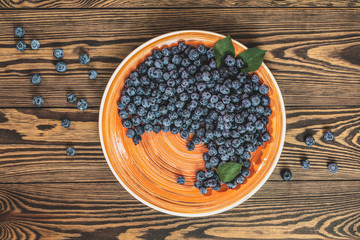 Blueberries in orange plate on dark wooden background