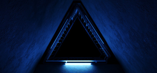 Sci Fi Alien Hi Tech Vibrant Realistic Triangle Shaped Metal Construction With Neon Glowing Ultraviolet Purple Blue Lights Grunge Concrete Tunnel Corridor Empty  Reflections 3D Rendering