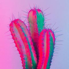 Neon creative cactus. Cactus minimal design. Cactus fashion idea