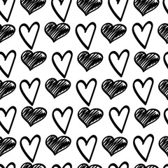 Black sketches of hearts.