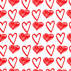 Red sketches of hearts