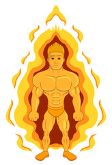 Cartoon of a superhero on fire