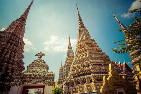 Panorama of Ancient Stupas and pagoda in Wat Pho temple in Bangkok