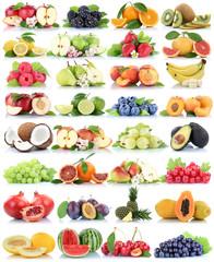 Wall Mural - Früchte Frucht Obst Collage Apfel Orange Banane Orangen Erdbeere Äpfel Birne Trauben Melone biologisch Freisteller freigestellt isoliert