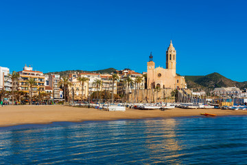 View on the coastal village of Sitges, Catalonia, Spain on sunny winterday