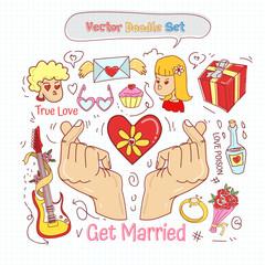 Valentines Day Doodle Set Vector