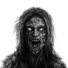 Scary zombie woman face on white background. I