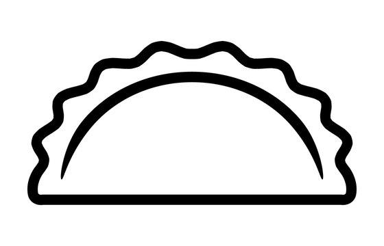 Dumpling, potsticker or jiaozi line art vector icon for food apps and websites