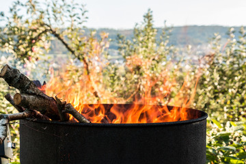 Burning barrel in the middle of the garden
