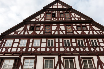 Old historical building and half-timber house with brown wood
