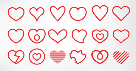 Hearts set isolated on white background. Simple modern design. Line icons, signs or logos. Red color. Objects to the Valentine's Day. Flat style vector illustration.