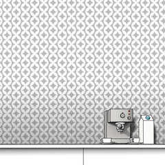 3d illustration rendering of coffee machine, cups and milk over grey wallpaper background