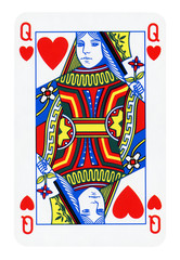 Queen of Hearts isolated on white (clipping path included)