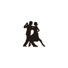 Elegant latino dancers couple. Group of mature tango dancing people in ballroom night event. Senior dancer party.