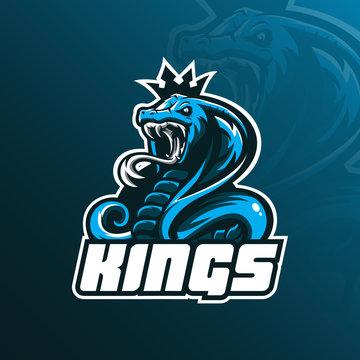 king cobra mascot logo design vector with modern illustration concept style for badge, emblem and tshirt printing. angry cobra illustration.