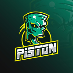 piston mascot logo design vector with modern illustration concept style for badge, emblem and tshirt printing. green piston illustration.