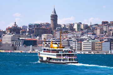 Galata Tower and ship in istanbul