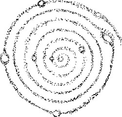 Illustration of the cosmic spiral of the galaxy and the planets in it is symbolic.