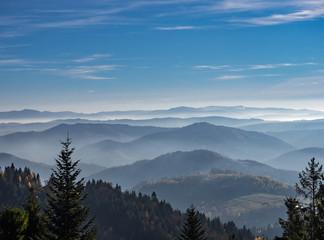 Aluminium Prints Beskids Mountains in Autumn from Jaworzyna Range nearby Piwniczna-Zdroj town, Poland. View to the south.