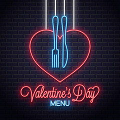 Valentines Day Neon Menu. Heart a fork and knife