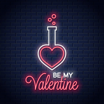 valentines day neon . Be my Valentine lettering