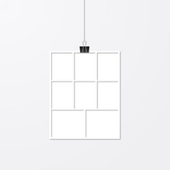 Realistic vector frame hanging with binder clips. White paper frame. Collage layout template. Mock up for photographers.